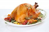 pic of poultry  - Roasted turkey on tray garnished with red grapes figs kumquat and herbs over white background - JPG