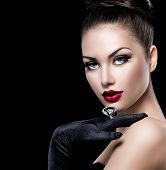 stock photo of ring  - Beauty Fashion Glamour Girl Portrait over black background - JPG