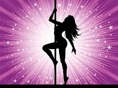 pic of pole dancing  - Silhouette of a sexy pole dancer performing - JPG