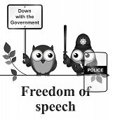stock photo of freedom speech  - Monochrome comical freedom of speech isolated on white background - JPG