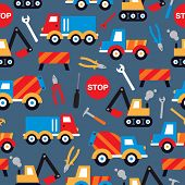 picture of truck-stop  - Seamless under construction crane trucks digger and tools illustration kids background pattern in vector - JPG