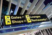 stock photo of sign board  - Airport flight gate - JPG