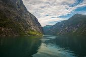 pic of fjord  - View over the fjord Geiranger fjord in Norway - JPG