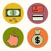 stock photo of freehand drawing  - Set of hand drawn doodle money related icons isolated on colorful bright circles - JPG