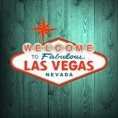 pic of las vegas casino  - Las Vegas Sign on wood - JPG