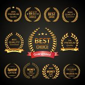 picture of exclusive  - Golden sale premium quality best choice exclusive laurel wreath emblems set isolated on black background vector illustration - JPG