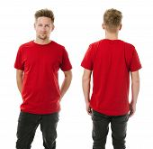 Man Posing With Blank Red Shirt
