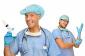 image of crazy face  - Doctors with crazy faces big syringe and gloves isolated in white - JPG