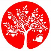 picture of water bird  - vector heart tree with birds and heart watering can isolated on red round - JPG
