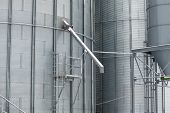 picture of silos  - Exterior detail of a storage grain silos - JPG
