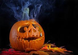 image of jack-o-laterns-jack-o-latern  - Smoking halloween pumpkin head with copy space - JPG
