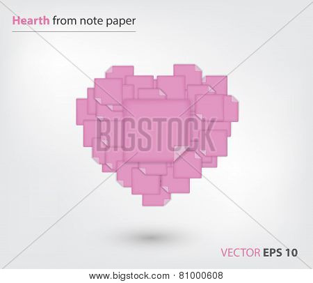 Heart from pink note paper