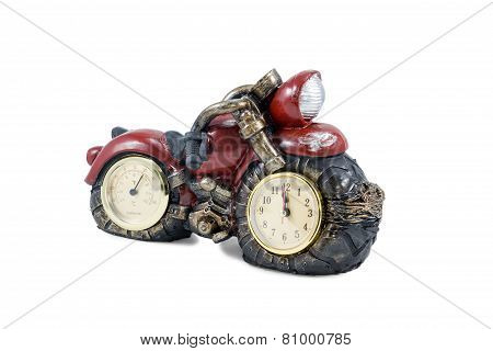 Motorcycle with clock and thermometer