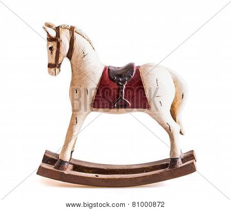 Vintage Rocking Horse Isolated On White