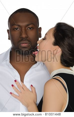 Asian Woman Licks His Cheek Dark-skinned Men