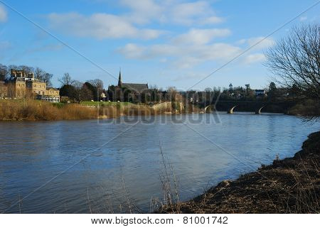 River Tweed And Bridge At Kelso