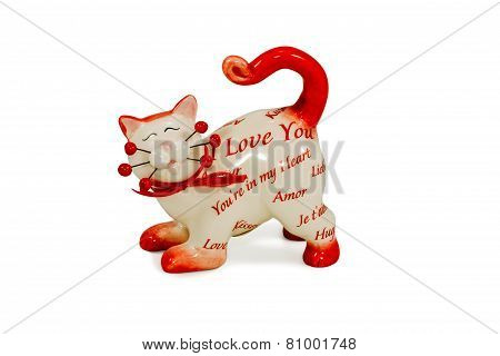 Figurine a cat with inscriptions about love