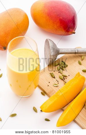 Mango Yoghurt Drink, Cardamon And Fruit Flesh