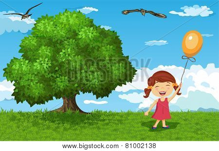 Happy little girl in a park.vector illustration