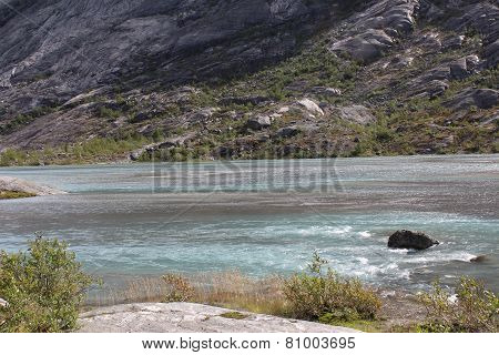 Beautiful landscape of Norway. Mountains and lake.