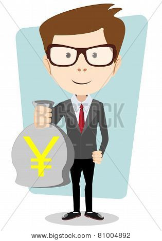 Bisnesmen bag holds the yen, vector illustration