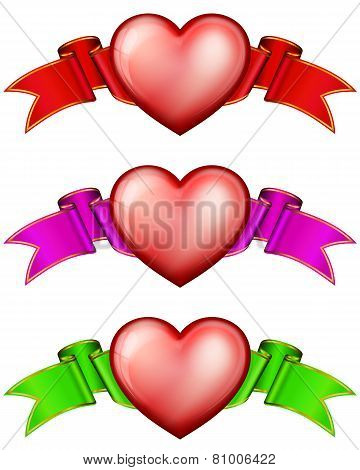 Collection hearts with ribbon