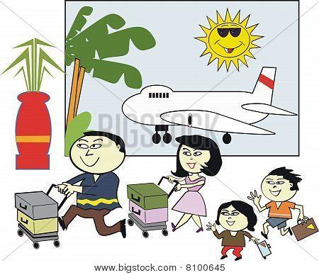 Asian family travel cartoon