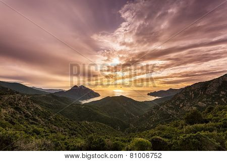 Sunset On The West Coast Of Corsica