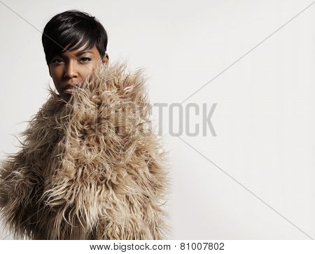 Woman Wearing A Faux Fur