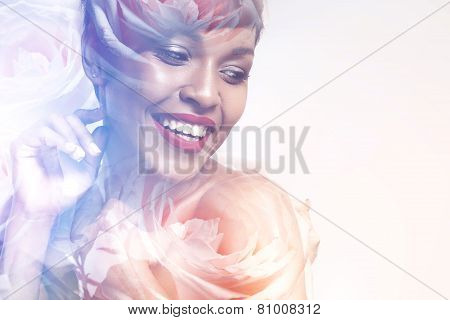 Double Exposure Of Happy Smiling Woman And Roses