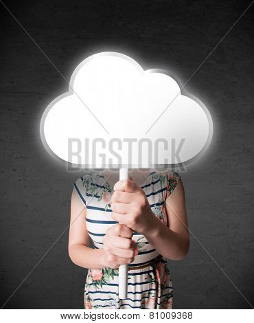 Young lady standing and hiding his head behind an empty cloud