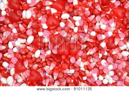 assorted valentines candy background