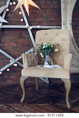 Wedding Bouquet On The Armchair