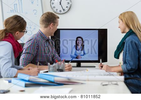 Business Conference On The Skype