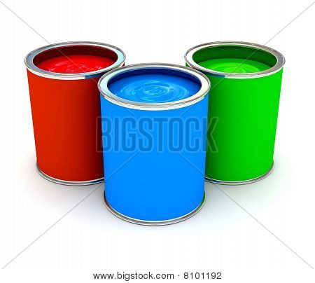 Rgb Color Paint Can Over White