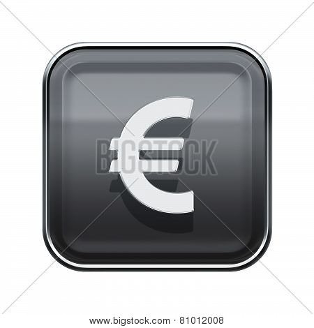 Euro Icon Glossy Grey, Isolated On White Background