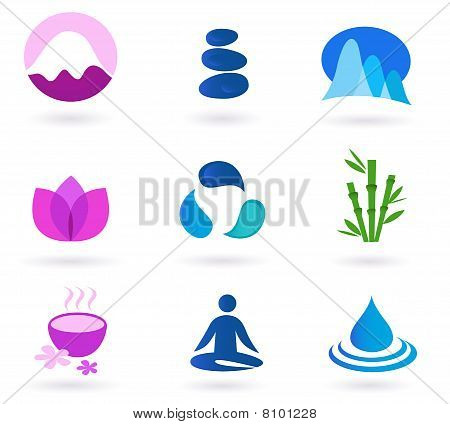 Wellness, ontspanning en yoga icon set. Vector