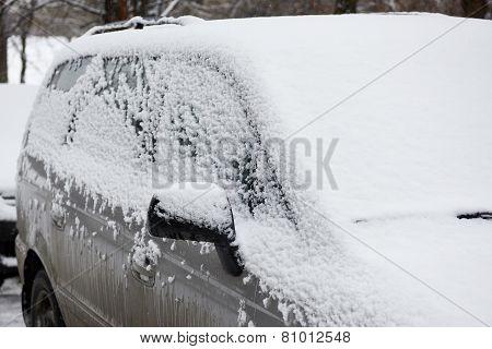 Car In Snow On Winter