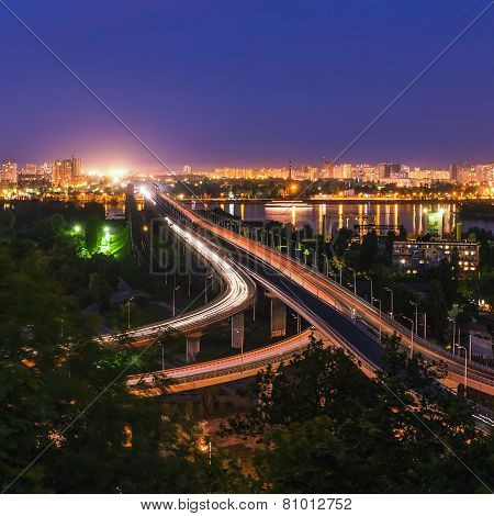 road-rail bridge in evening Kiev. Ukraine