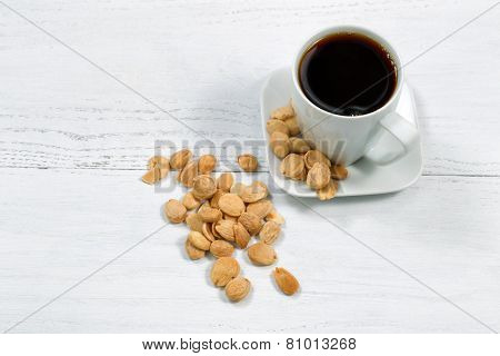 Coffee And Almonds For Snack