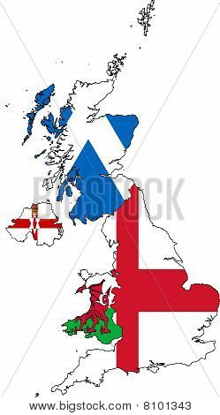 Map Of England Provinces.Download Image Of Britain Map Of Provinces Collage With Flags