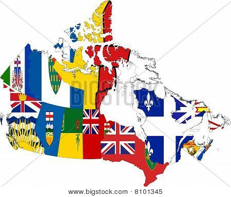 Canada Map Of Provinces And Territories Collage With Flags
