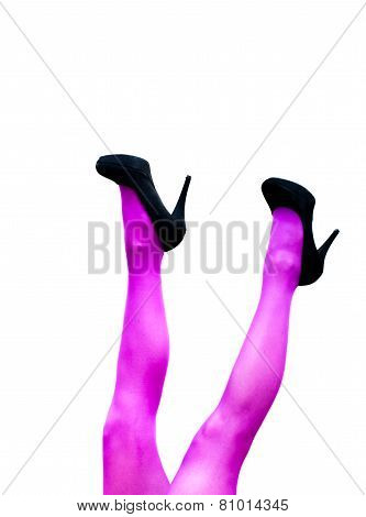 Female Legs In Pink Pantyhose And Black High Heels