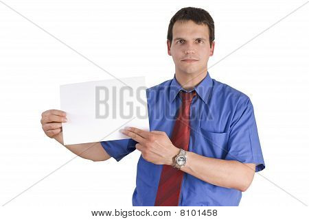 Businessman Holding Or Showing A Blank Paper.