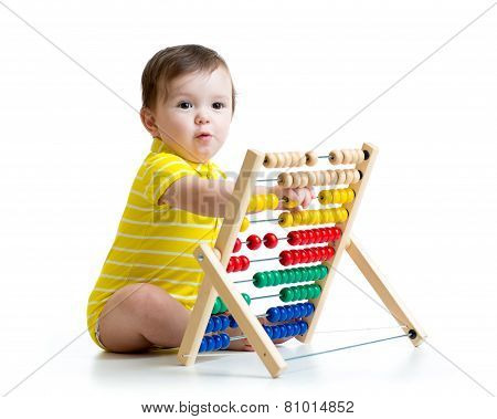 Baby playing with abacus toy