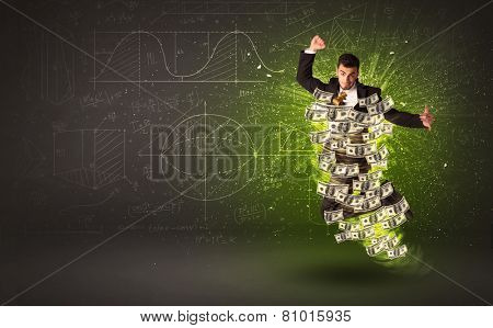 Cheerful businessman jumping with dollar banknotes around him on background