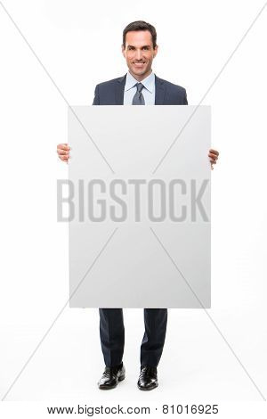 businessman with white placard