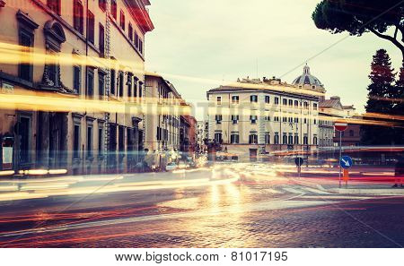 Light Of Car Traffic On Piazza D'aracoeli