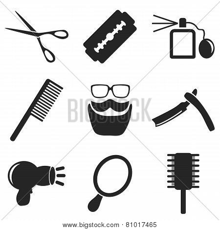 Barber Web And Mobile Icons Collections. Vector.