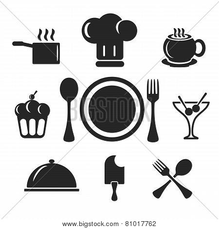 Kitchen And Cook Web And Mobile Icons. Vector.